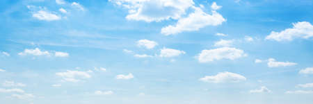 calm lake water under blue sky clouds horizontal, panorama