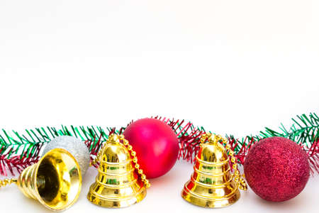 Christmas background with red balls silver ball and gold bell photo