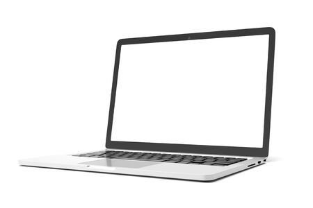 Laptop computer with blank white screen isolate on white background. screen mockup template Фото со стока - 134879327