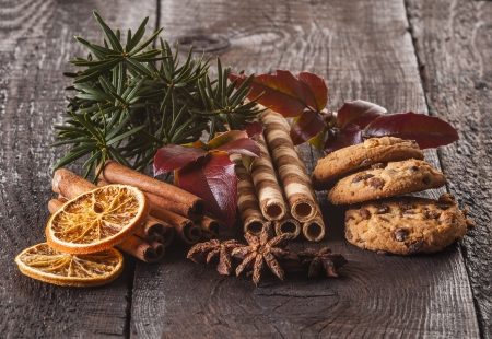 Christmas food components on the wooden table - closeup photo