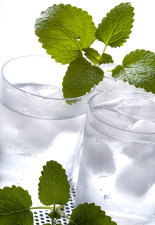 purified: Two glasses of cold fresh mineral water