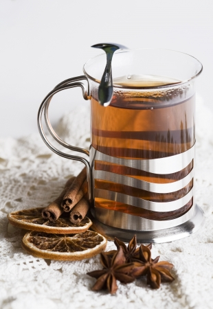 Hot tea with spices photo