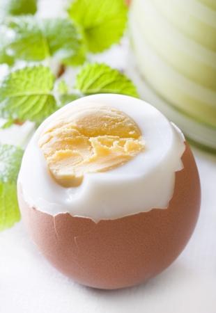 Oeuf à la coque à l'heure de Pâques