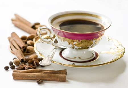 caffe: China retro cup of coffee with delicacies