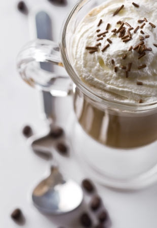 Creamy coffee with chocolate in the glass photo
