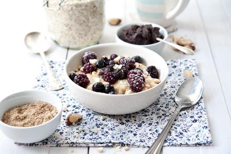 Porridge with blackberries Stock Photo