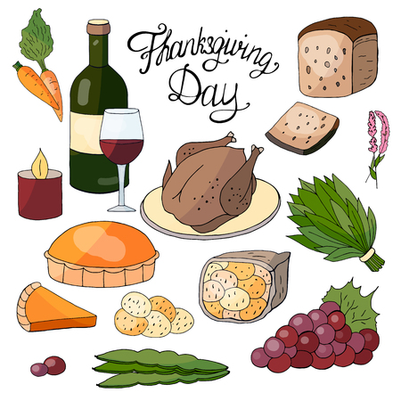 Hand drawn elements for the Thanksgiving Day