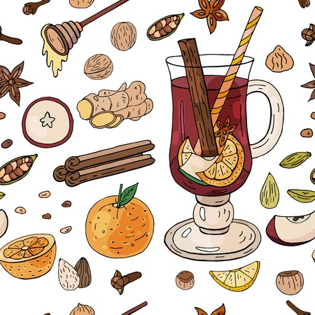 Seamless pattern with mulled wine, fruites and spices on the white background