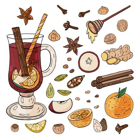 Hand-drawn mulled wine. Ingredients and spices for mulled wine on a white background. Ilustração