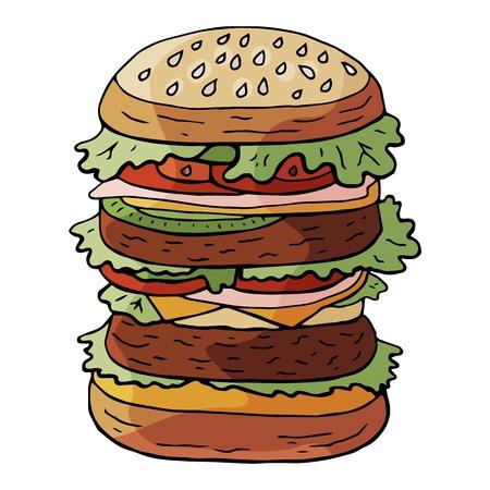 Hand drawn vector huge hamburger on sesame bun isolated on white background Illustration