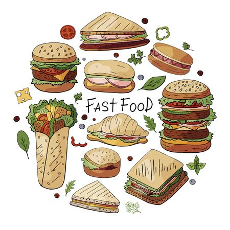 Hand drawn vector set of different types of burgers, sandwiches and hot dogs isolated on white backgriond