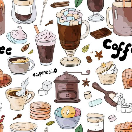 Seamless pattern with different coffee drinks ant sweats on the white background