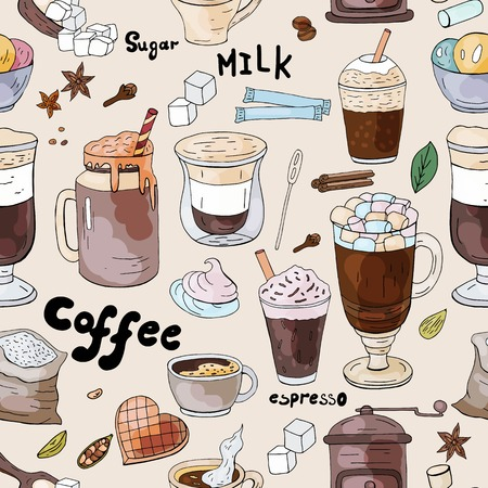 Seamless coffee pattern, vector doodle coffee collection