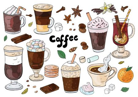 Set of hand drawn different types of coffee on the white background. For cafe menu.