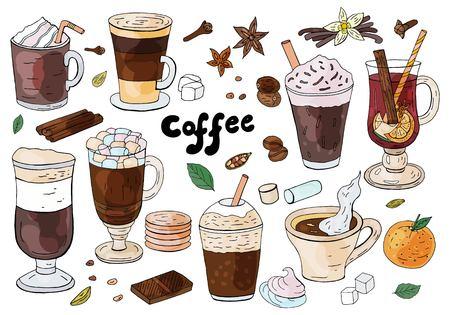 Zestaw ręcznie rysowane różne rodzaje kawy na białym tle. Do menu kawiarni.