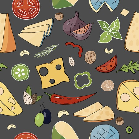 Seamless food pattern with cheese and vegetables elements. Vector doodle food pattern