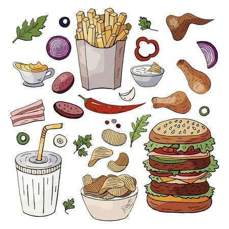 Set og hand drawn fast food elements. Vector doodle fast food isolated on white background