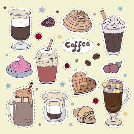 Patches with different types of coffee. 向量圖像