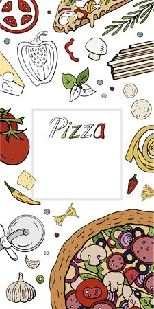 Vector vertical italian pizza banner on white. Pizza menu with hand drawn pizza collection