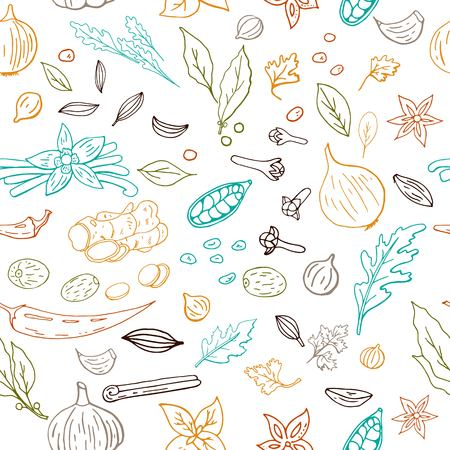 Seamless hand drawn vector pattern with different outline spices isolated on white background
