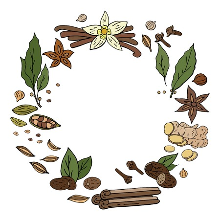 Vector hand drwan spices wreath isolated on white background