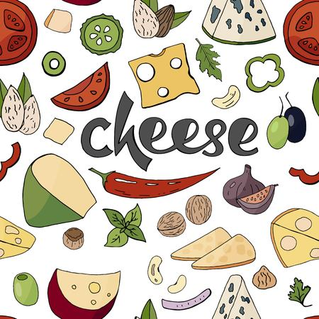 Seamless pattern with cheese and vegetables on white background. Different cheese collection