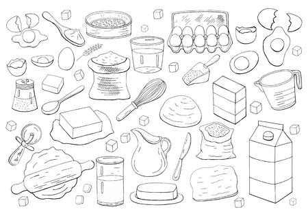 Different dough items and kitchen accessories isolated on white background.