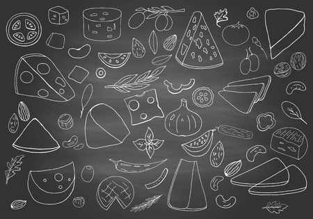 Vintage hand drawn different types of cheeses on chalkboard. Cheese collection