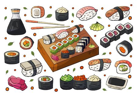 Hand drawn japan sushi and rolls sets isolated on white background. Vector sushi