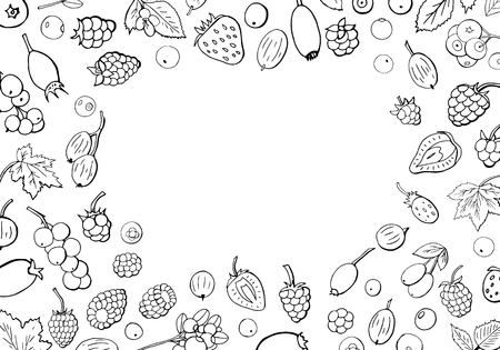 Big collection of different types of berries with space for text. Set of summer berries black and white.