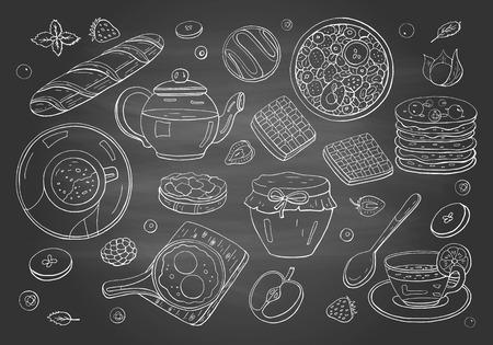 Set of morning breakfast elements on chalkboard.