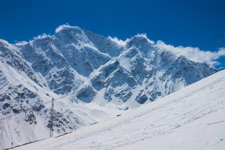Snowy peaks on Elbrus, Russia.