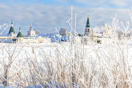 Valdai Iversky Monastery in the winter morning, frost. Valdai, Novgorod Region, Russia