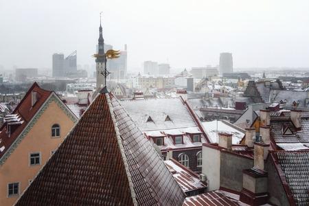 Cityscape with Medieval Old Town, Tallinn, Estonia. Beatiful winter view of tallin
