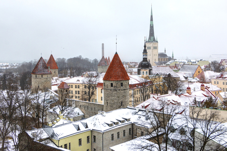 Cityscape with Medieval Old Town, St. Olaf Baptist Church, Tallinn, Estonia. Beatiful winter view of Tall