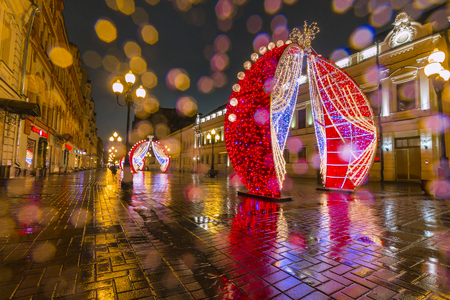 Moscow, Russia, December 18, 2017: Old Arbat, New Year