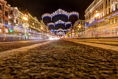 Russia, Saint-Petersburg, 03, January, 2018: Nevsky Prospekt, New Year's and Christmas decorations Éditoriale