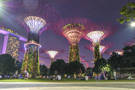 Singapore, September, 29, 2018 - Gardens by the Bay. Night view of the tree show in Singapore Editorial