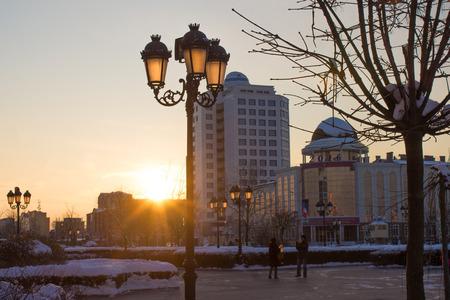 RUSSIA, Chechnya, Grozniy - January 5, 2016: - walk through downtown Grozny
