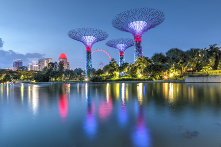 Singapore, 29, September, 2018: Gardens by the Bay. Night view of the tree show in Singapore