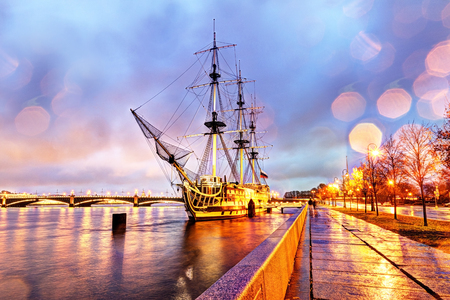 Russia, St. Petersburg, October 29, 2017: Frigate Grace in the dusk Editöryel