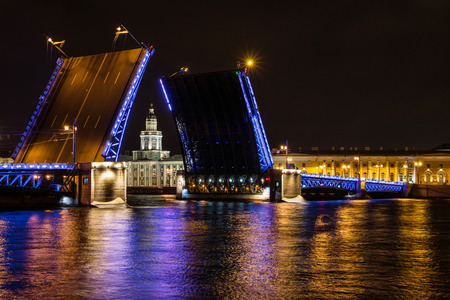 St. Petersburg, Russia, September 10, 2017 - Opening of the Palace Bridge in St. Petersburg Petersburg. View of the Kunstkammer over the bridge, Russia