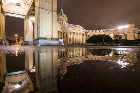 St. Petersburg, Russia, September 10, 2017 - Kazan Cathedral Petersburg. Reflection of Kazan Cathedral in the puddle