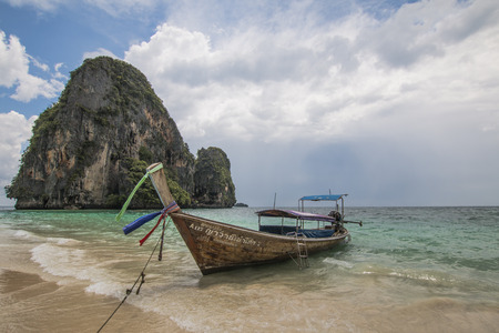 Thailand, Pranang, 23, September, 2018: View of the boats in the ocean. Krabi Province, Raleigh Peninsula Editöryel