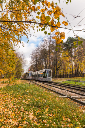 Russia, Moscow, October 22, 2017: Moscow trams in Izmailovo in the autumn season