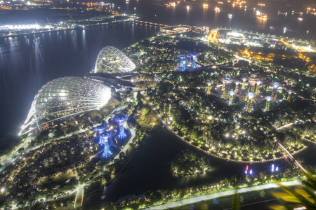 Singapore, September, 29, 2018: Marina Bay Sands Observation Deck. Amazing panoramic view from Singapore Editöryel