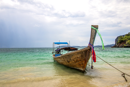 Thailand, Pranang, 23, September, 2018: View of the boats in the ocean. Krabi Province, Raleigh Peninsula 新闻类图片