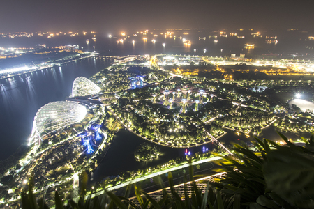 Singapore, 29, September, 2018: Marina Bay Sands Observation Deck. Amazing panoramic view from Singapore