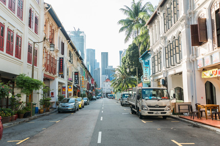 Singapore, 29, September, 2018: Chinatown. Walk through the Chinatown streets in Singapore Editöryel