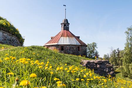 Korela stone fortress on the island of Priozersk, Leningrad Region, Russia Stok Fotoğraf - 123572557